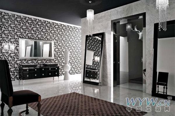 黑白配浴室家具设计