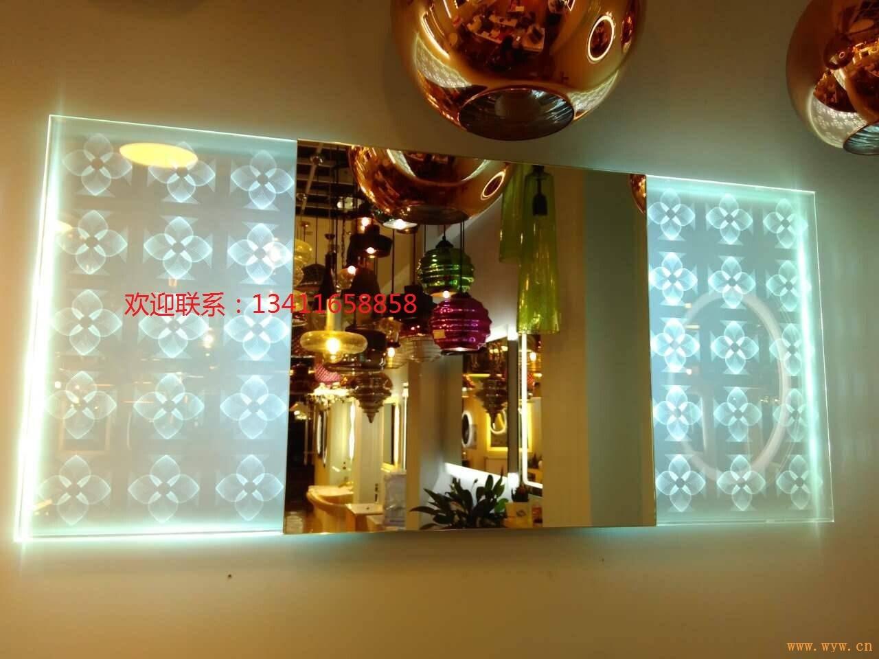 供应现代简约LED浴室带灯防雾镜