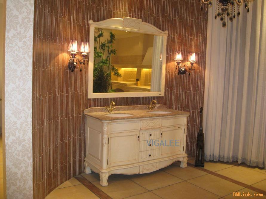 供应欧式仿古古典艺术浴室柜/美式复古田园浴室柜vi