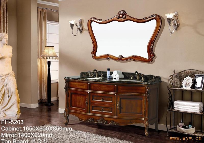 > 供应欧式浴室柜落地仿古实木卫浴洗手洗脸盆浴室柜