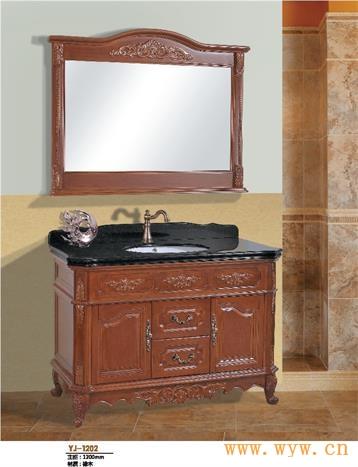 供应欧式古典大理石整体橡木浴室柜1202