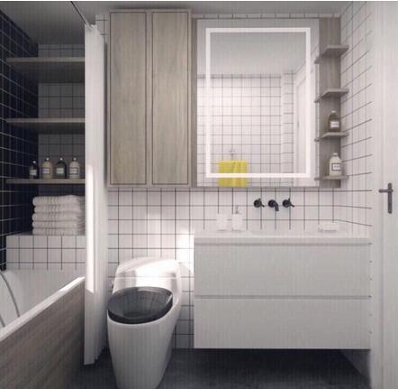 卫浴飙升体验,谁说小卫生间塞不进浴缸,聪明的人都是这么做的!