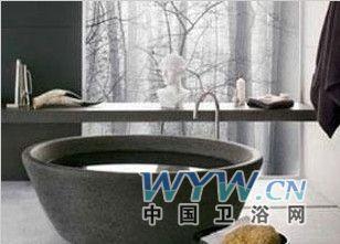 黑色圆形大理石造型浴缸图片
