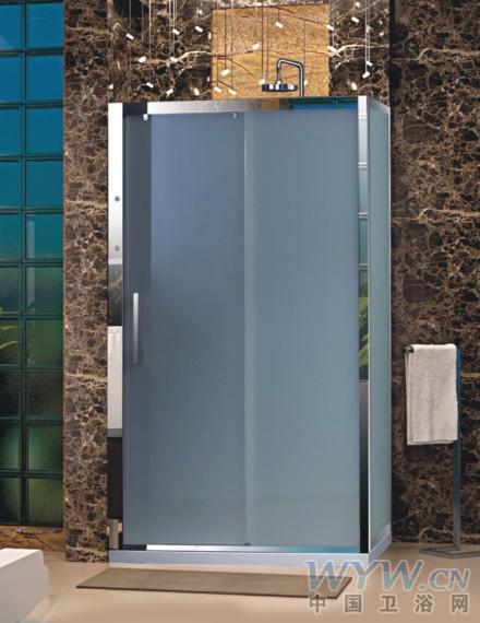 金牌卫浴大理石墙壁搭配磨砂玻璃淋浴房系列
