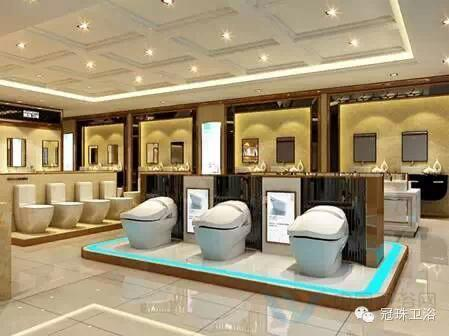 橱窗和墙面展示,能充分匹配冠珠陶瓷展厅奢华的装修风格,让冠珠卫浴的